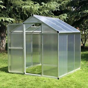 Greenhouse 182x190x195cm Clear Polycarbonate Sheet Walk-In Garden House Frame