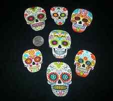 7 Pc Retro Colorful Day of Dead Sugar Skulls No Sew Iron On Handcut Appliques