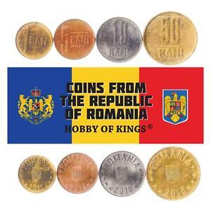 Set 4 Coins Romania 1 5 10 50 Bani Romanian Money 2018 - 2021