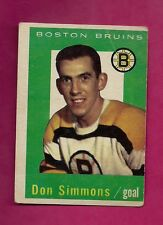 1959-60 TOPPS # 11 BRUINS DON SIMMONS GOALIE  GOOD CARD (INV# A130)