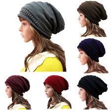 Women Knit Baggy Beanie Oversize Winter Hat Ski Cap Skull Hot Light Dark Blue
