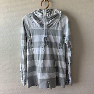 Lululemon Grey White Striped Pullover Hoodie Shirt Long Sleeve Women's Size 8