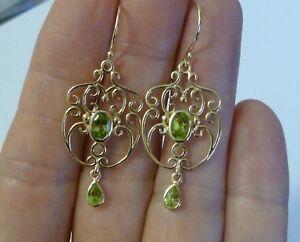 Vintage Peridot Filigree Earrings, 9ct 9k Solid Gold Chandelier Drop, E36 Custom