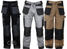 Black Grey Khaki Heavy duty Combat Cargo Work Trousers  with knee pad pockets