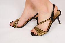 Vintage black & gold glitter evening shoes sz 7 OFFICE wedding party eveningwear