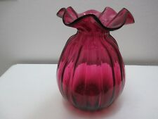 "Vintage Pilgrim Glass Vase Cranberry Vertical Ribbed Ruffled 9"" Tall"