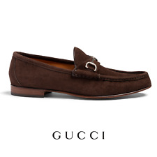 e4b2d0242 Men's Gucci Loafers Size UK 10 US 11 Brown Suede Shoes Brand New