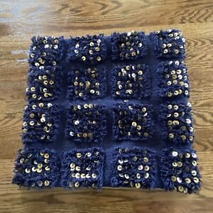 Pottery Barn MOROCCAN WEDDING Pillow Cover 18x18  Navy Blue Gold metal sequins
