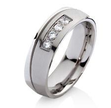 Verlobungsring Ehering mit 4 Zirkonia Trauring aus Edelstahl und Gravur P085D