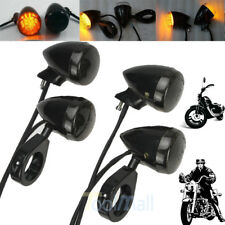 4Pc Black Front Rear Motorcycle LED Turn Signal Light 41mm Fork Clamp For Harley
