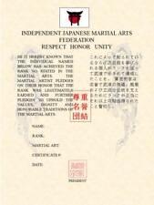 Martial Art Rank Recognition Certificate