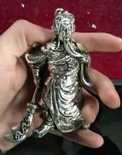 Handmade sculpture of the Miao silver statue, China's God of Wealth - Guan YU