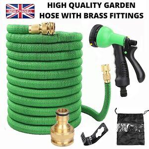 Heavy Duty Garden Hose Pipe Extra Long Expandable Water Spray Gun 100FT UK