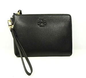 TORY BURCH $228 Thea Black Pebble Leather Large Zip Pouch Wristlet