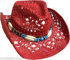Cowboy Hut Strohhut Tex Mex,Western Hat,Country Mütze Trapper Cap Hawaii rot