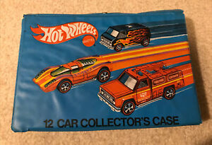 1975 Vintage Hot Wheels Mattel 12 Cars Collector's Case Blue 4975 White Handle