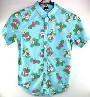 Rick And Morty Mens Size Med Shirt Hawaiian Button Up Licensed Adult Swim Blue