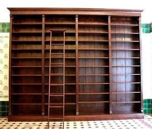 Regalwand Kolonialstil mit Leiter ca. 225 cm hoch, ca.245 cm breit, 40 cm tief,