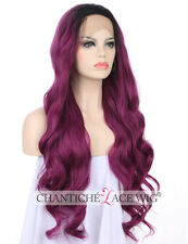 Ombre Purple Wigs Dark Roots Ombre Purple Lace Front Synthetic Wigs For Women