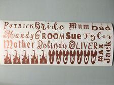 Rose Gold Personalised Sticker, vinyl, wine glass, wedding,bottle, baubles decal