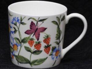 ROSE of ENGLAND BUTTERFLIES & STRAWBERRIES Fine Bone China DORSET Mug