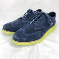 Cole Haan Grand OS Navy Blue Suede Leather Wingtip Fashion Oxfords Shoes Boys 4Y
