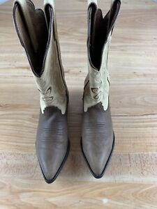 Tony Lama Cowgirl Western Boots Women's Exotic Brown Leather Size 8B