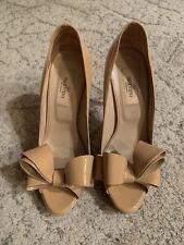 Valentino Floral Couture Beige Bow Peep Toe Platform Pumps, Size 37