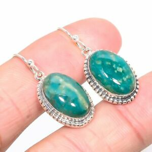 """Russian Amazonite Vintage 925 Sterling Silver Jewelry Earring 1.30"""" S2610"""