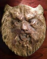 Wolf Man Ashtray Bronzed Brass Eerie Old Antique One-Eyed Scary Brown Glass Eye