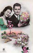 BK492 Carte Photo vintage card RPPC couple fantaisie fête de pâques poule oeuf