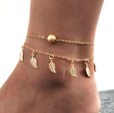 Gold Colour Feather and Ball Dainty Foot Chain Simple Sandal Thin Anklet Beach