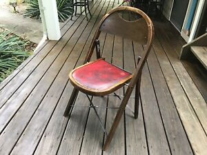 Vintage Mid Century Red Seat Wood Folding Curved Back Parlor Seat Chair