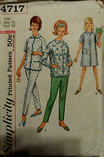 VTG 60s Misses Pajamas & Housecoat Robe Simplicity 4717 Bust 32