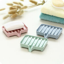 Plastic Soap Dish Holder Draining Tray Plate Storage Box Case Bathroom Accessory