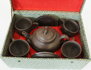 Vintage Chinese Yixing Red Clay Tea Set 4 Cups & Saucers + Tea Pot Boxed