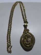 1OFAKIND WOMENS VICTORIAN MOURNING PHOTO LOCKET NECKLACE PENDANT DOVE GF 900 SIL