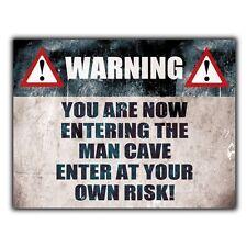 Advertencia introduciendo Cueva de hombre-Letrero de Metal Placa De Pared Gracioso humorístico signo De Puerta