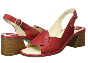 FLY LONDON LESO179FLY RED LIPSTICK LEATHER SANDALS UK 5 EU 38 USA 7 BNIB RRP£105