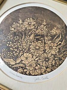 JOHN CULIK Mid Century Botanical Etching Floral Remembrance 118/200 Framed