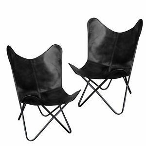 2pc Black Handmade Vintage Buffalo Leather Butterfly Chair Home&Garden Furniture