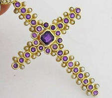 CP191 Genuine 9ct Yellow Gold Amethyst & PEARL Vintage style Cross Pendant