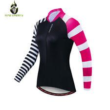 Women Long Sleeve Cycling Jersey Top Ladies Bike Shirt Full Zip Reflective Gifts