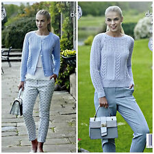 KNITTING PATTERN Ladies Round Neck Lace&Cable Jumper &Cardigan DK King Cole 4936