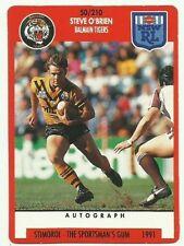 WEST TIGERS BALMAIN STEVE O'BRIEN #50 1991 NRL SCANLENS STIMOROL CARD