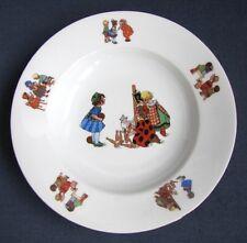 Assiette Porcelaine MZ Enfants Bicot Chat Quilles Style Germaine Bouret 1930