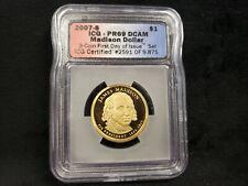 2007-S ICG PR69 DCAM Madison Presidential Dollar Coin