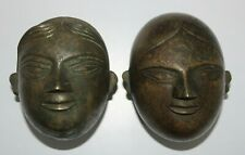 Pair of Bronze boxes in the shape of South India Men & Women face Early 18tb C.