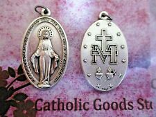 """X- Large Miraculous Medal - Latin - 1 3/4""""  Oxidized Italian Silver Cast Medal"""