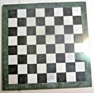 """Cambor Marble Chess 16"""" Inch Replacement Board Dark Emerald Green Trim Vintage"""